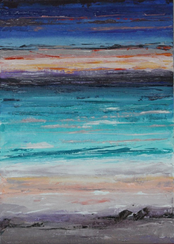 Abstract painting showing the amazing colours at a beach at sunrise