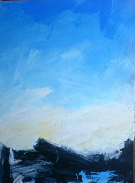 Abstract painting of sky with bright sunshine