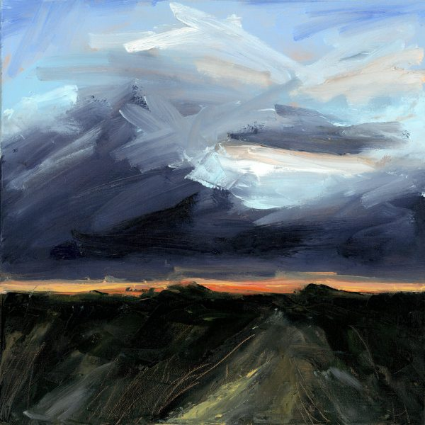 Painting of a dramatic winter sunset at dusk