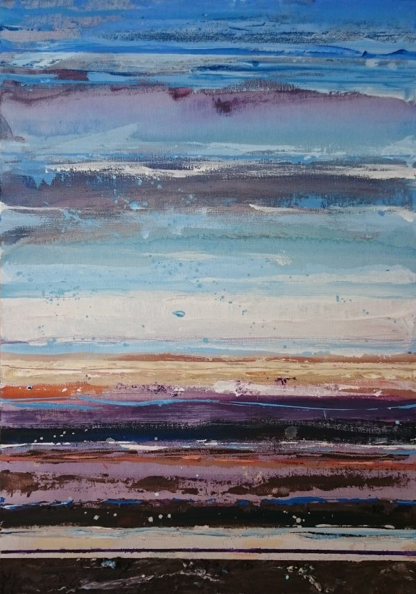 Abstract painting showing the colours and mood of a beach quiet at low tide