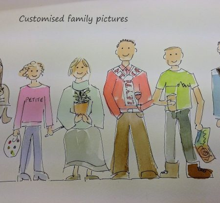 Colour custom illustration of a family of four