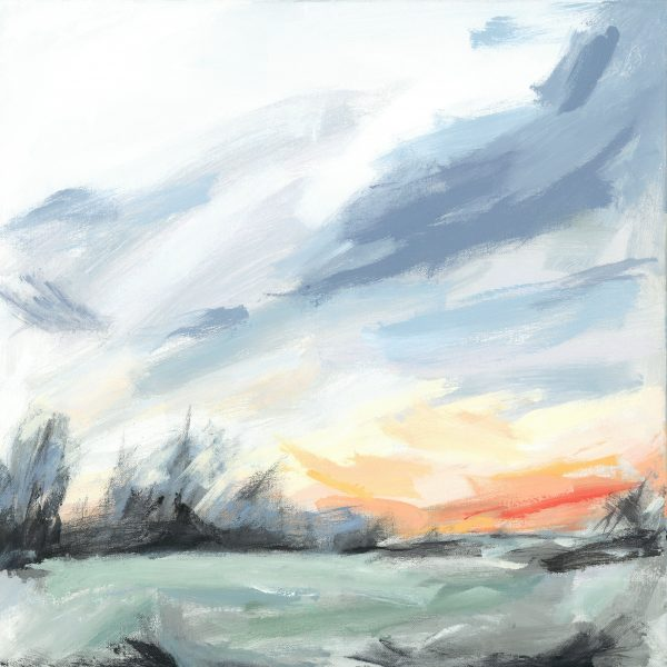 Painting of frosty winter sunrise